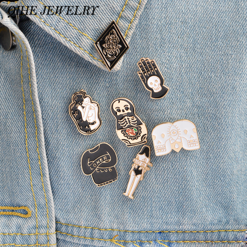 7pcs / set Harde emaille pins Goth punk schedel broche revers pin Halloween pin button badges Sieraden voor hem Leuke cadeaus