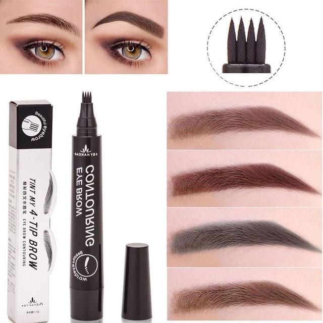 In Stock 4 Head Fine Sketch Eyebrow Pencil Waterproof Fork Tip