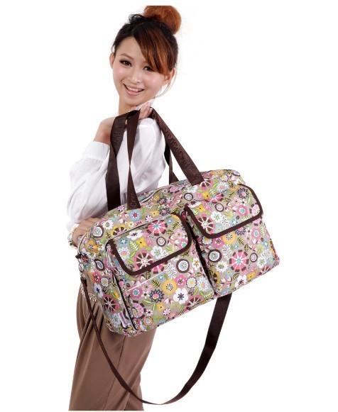 Mulheres Floral Dobrável Nylon Oxford Grande Capacidade bolsa de viagem À Prova D' Água Entregando Crossbody Ombro Duffle bag Organizador para as mulheres