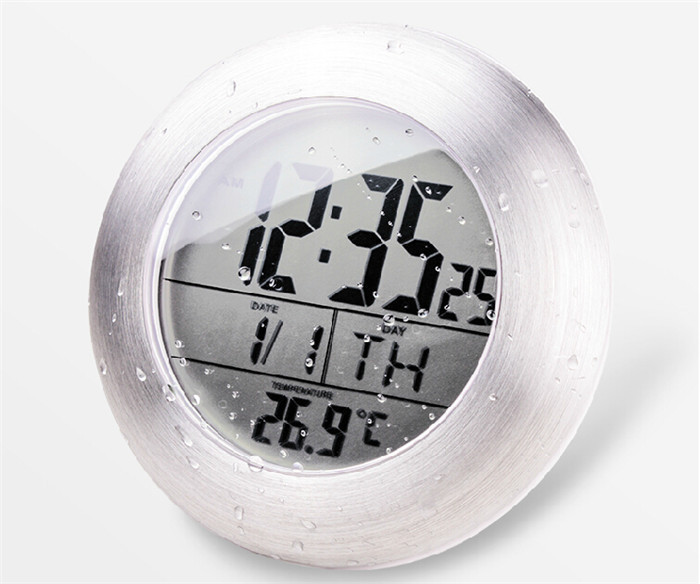 Waterproof Shower Silent Digital Clocks Bathroom Kitchen Wall Suction Cup Clock Watch Modern Fashion Temperature Date Design In From Home