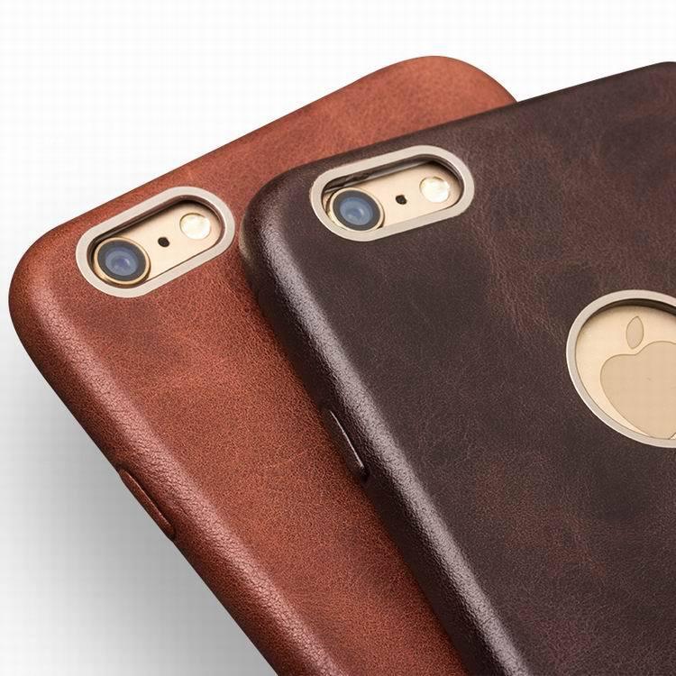 imágenes para Para el iphone 6/6 s QIALINO Cajas del teléfono de Cuero Ultra Delgado Genuino Cubierta de La Funda detrás Para el iphone 6/6 s/6 plus de 4.7 pulgadas 5.5 pulgadas
