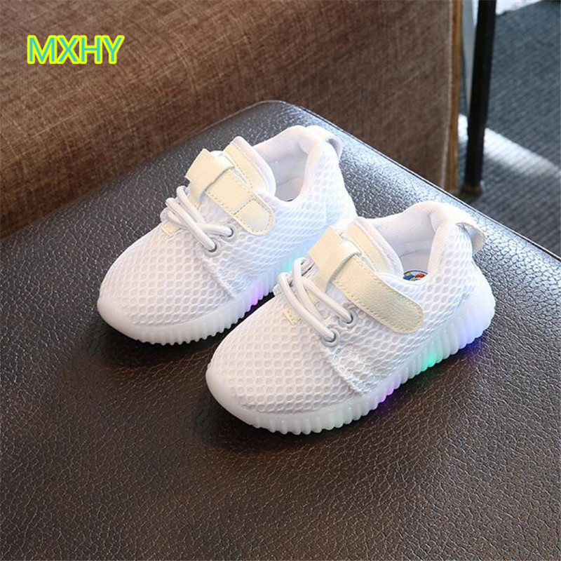 MXHY Children LED Luminous Sneakers Breathable Kids Sports Shoes Spring Autumn Flat Girls Casual Soft Bottom Shoe For Baby 21-30