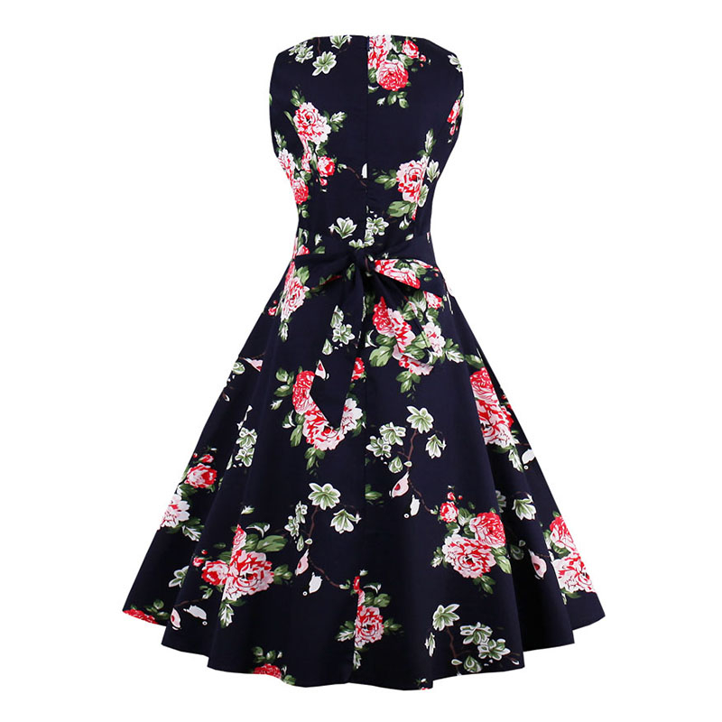 Kostlish 9 Style Print Summer Dress Women 2017 Sleeveless Swing 1950s Hepburn Vintage Tunic Dress Elegant Party Dresses Sundress (20)