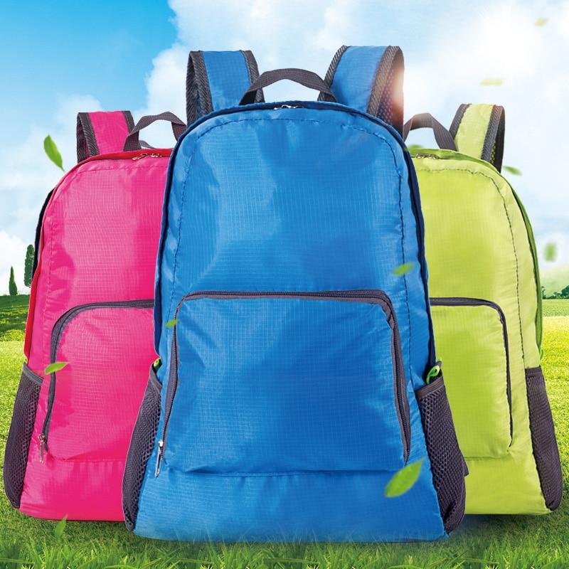 Casual  Portable Fashion Travel Backpacks Double Zipper Nylon Back Packing Daily Traveling Women Men Shoulder Bags Folding Bag