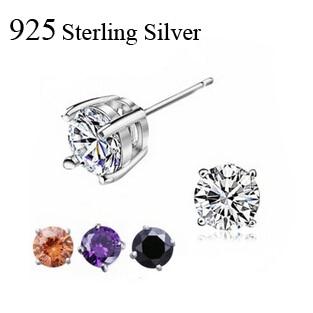 925 Sterling Silver Stud Earrings For Women Fashion Jewelry Free Shipping 5mm Aaa Cubic Zirconia