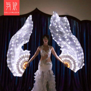 Image 4 - 2019 New Belly Dance LED lights Silk Fan Veils colorful Rainbow Stage Performance Props LED Fan Veil for Oriental Dancing Fans
