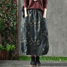 F& je, Новое поступление, Весенняя женская юбка размера плюс, высокая талия, джинсовая, винтажная, с принтом, макси юбка, женская, хлопок, свободная длинная юбка D18