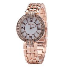 OKTIME Rose Gold with white Wrist Watch Ladies High Model Luxurious Well-known Clock Quartz Watch Wristwatch Quartz-watch