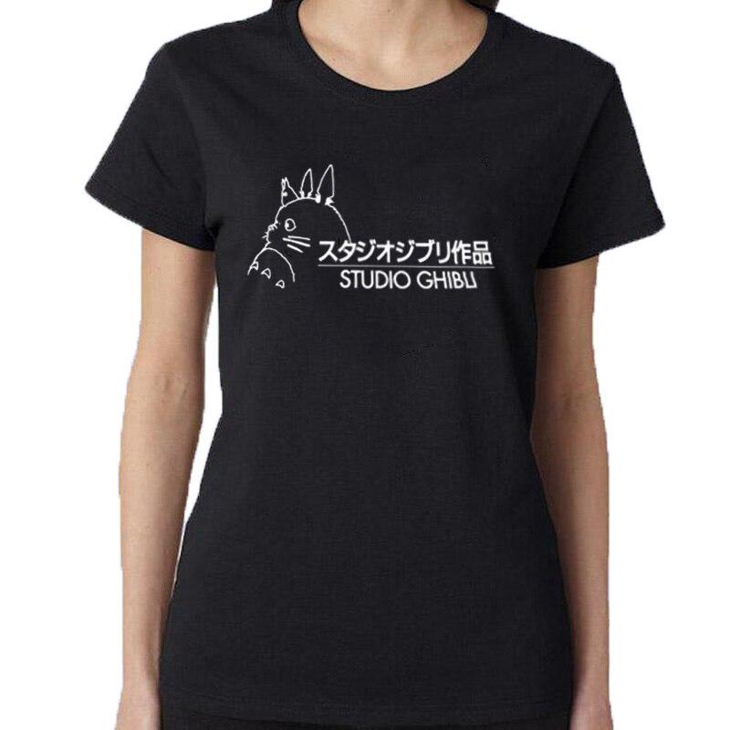 Studio Ghibli TShirt Women Tops Japanese Harajuku Cartoon T shirt Cute Graphic Tee shirt Tops Black White Size S-XXL