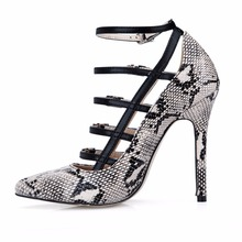 LLXF Plus:41 42 43 Stiletto Ladies Pointed Toe Snake print Shoes woman 12cm thin High-Heeled female Party Buckle Pumps