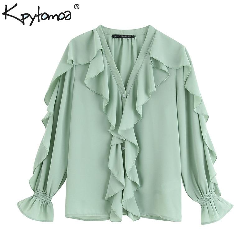 Vintage Flowy Ruffled Chiffon Stylish Tops Women Blouses 2019 Fashion V Neck Long Sleeve Ladies Shirts Casual Blusas Mujer