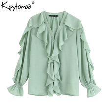 Vintage Flowy Ruffled Chiffon Stylish Tops Women Blouses 201