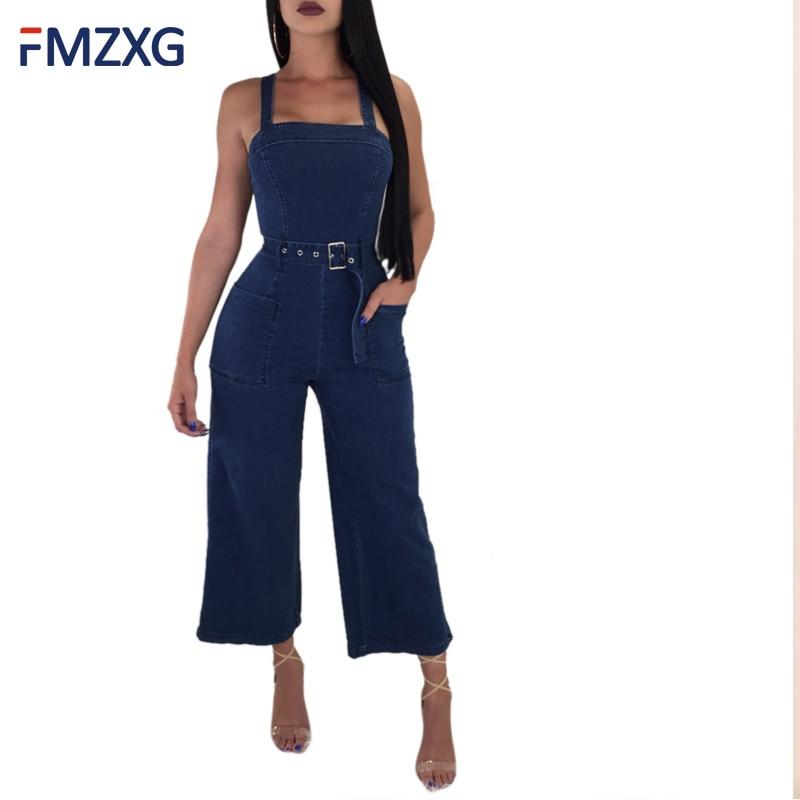 Women Summer Jumpsuit 2018 New Fashion Strap Blue Jumpsuits Elegant Ladies Wide Leg Pants Casual Women Overalls Women's Clothing