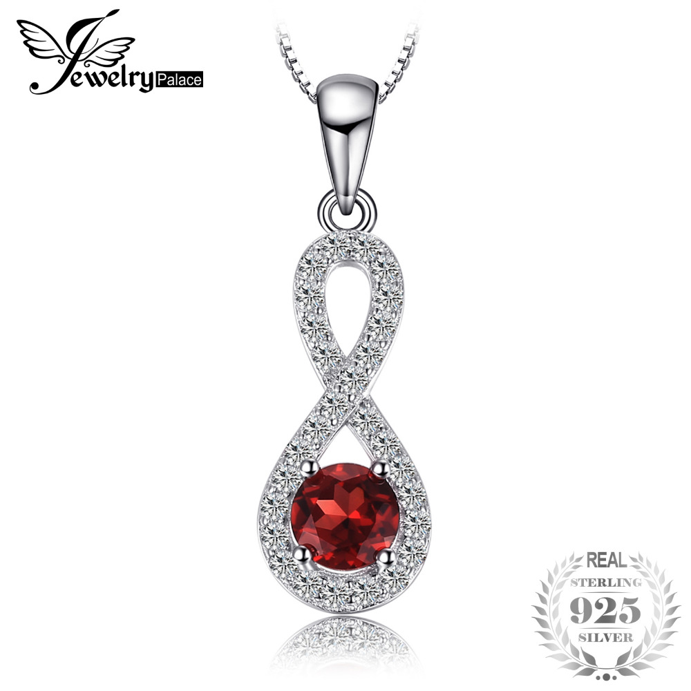 Classic 0.91 ct Round Natural Garnet Infinity Pendant 925 Sterling Silver Wedding Fine Jewelry Without Chain