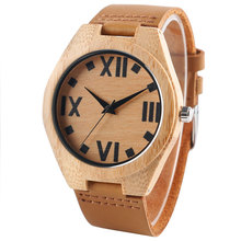 Unique Design Hand-made Nature Wood Watches Quartz Bamboo Roman Number Dial Wristwatch for Men Best Gift Item