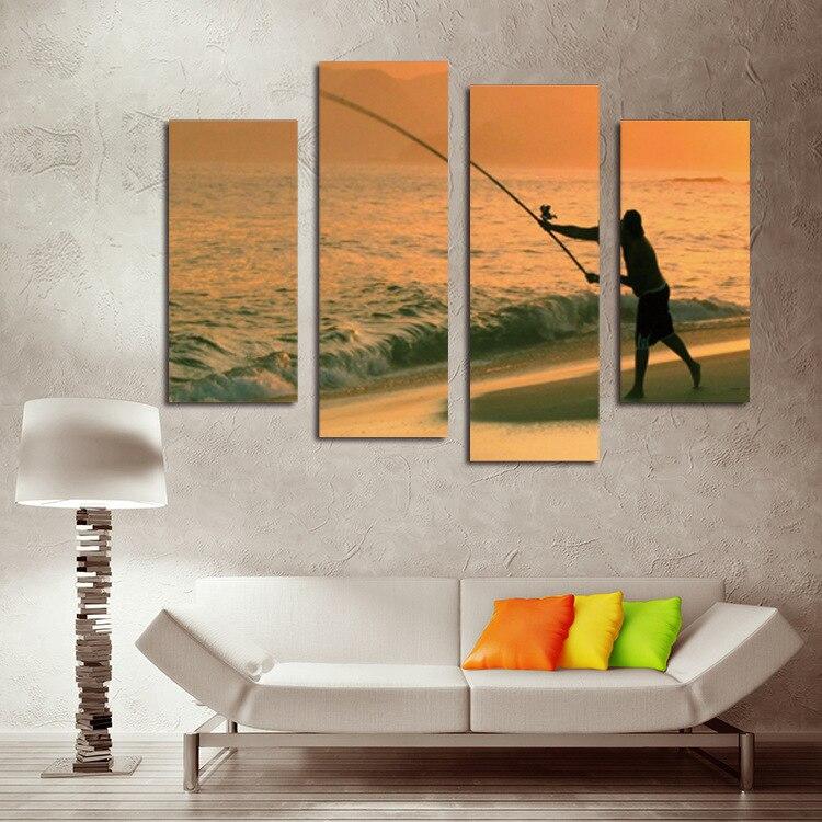 Cuadros pinturas frameless 4 Unidades pintura de la playa los ...