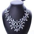Declaración Bib Crystal Elegante Chunky Collar Joyería de Las Mujeres de La Flor de La Vendimia de La Cinta Collar de Cadena Corta