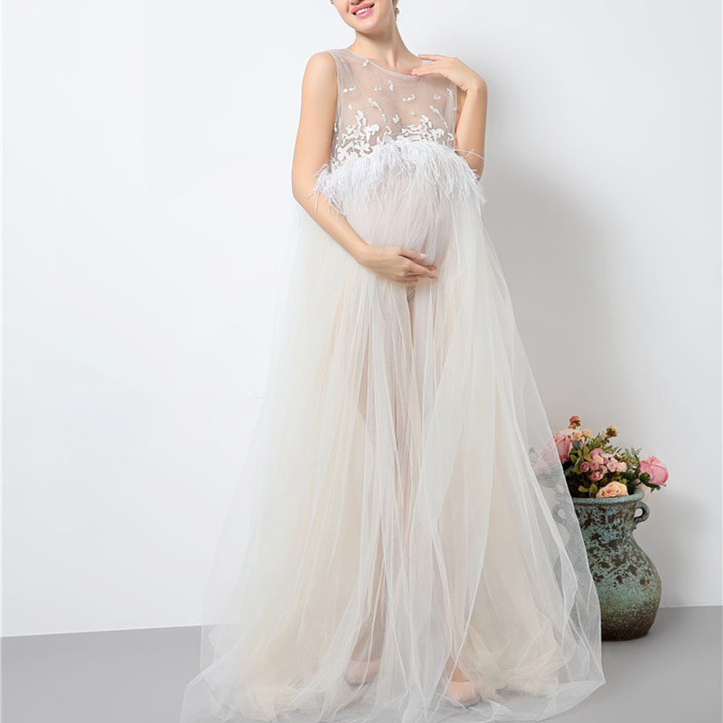 Maternity White Lace Dresses for Baby Showers Pregnancy Photography Props Clothes Pregna ...