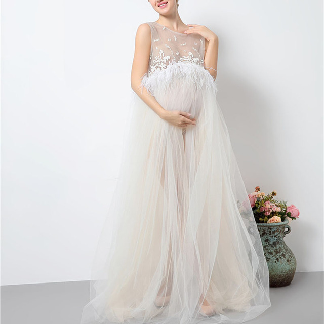292b89435c1 Maternity White Lace Dresses for Baby Showers Pregnancy Photography Props Clothes  Pregnant Women Gown Photo Shoot Dress Costume