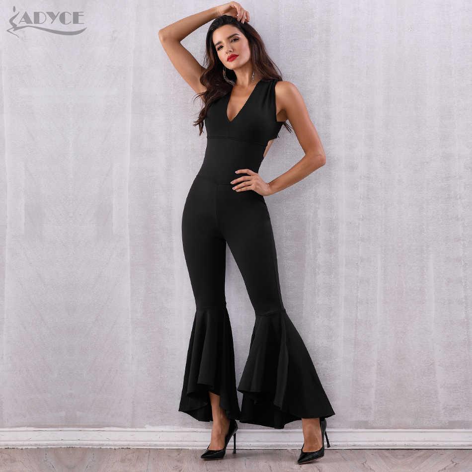 Adyce 2020 novo verão preto mulheres macacão elegante longo sexy decote em v profundo sem costas celebridade festa macacão clube bodysuit