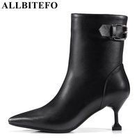 ALLBITEFO Fashion Buckle Genuine Leather Pointed Toe Thin Heel Women Boots Medium Heel Winter Boots Girls