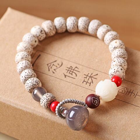 Beaded Bracelet Handmade Talipot Palm Seeds Mala Bracelet Designer Buddhist Rosary Beads Bracelet