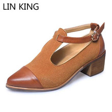 Купить с кэшбэком LIN KING New Classic Buckle Square Heel Women Pumps Pointed Toe Ankle Shoes Breathable Outdoor Female Single Shoes Zapatos Mujer