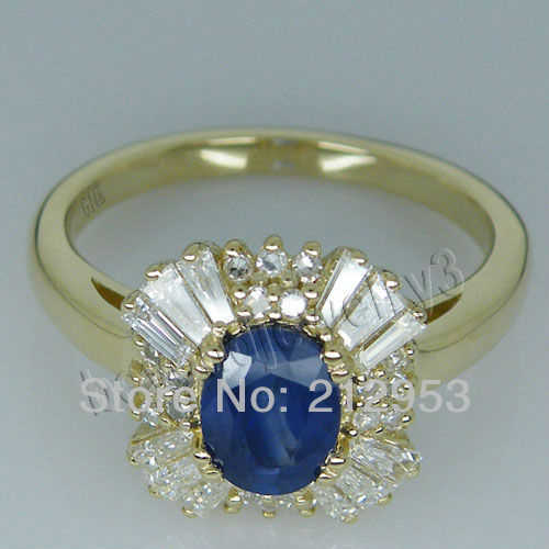 Vintage Oval 5x7mm 14Kt Yellow Gold Natural Blue Sapphire Ring Loving Fine Jewelry for Wife  SR0002F