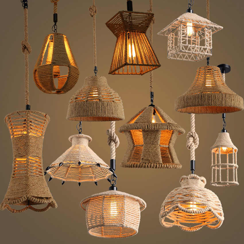 Retro iron hemp rope pendant lights Bar cafe dinning room Warehouse bird cage Hand Knitted Hemp rope hanging lamp industria
