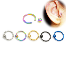 2pcs 16G Gold Black Titanium Captive Bead Hoop Ring Navel Tragus Helix Rings Lip Labret Nose BCR Body Piercing Jewelry(China)