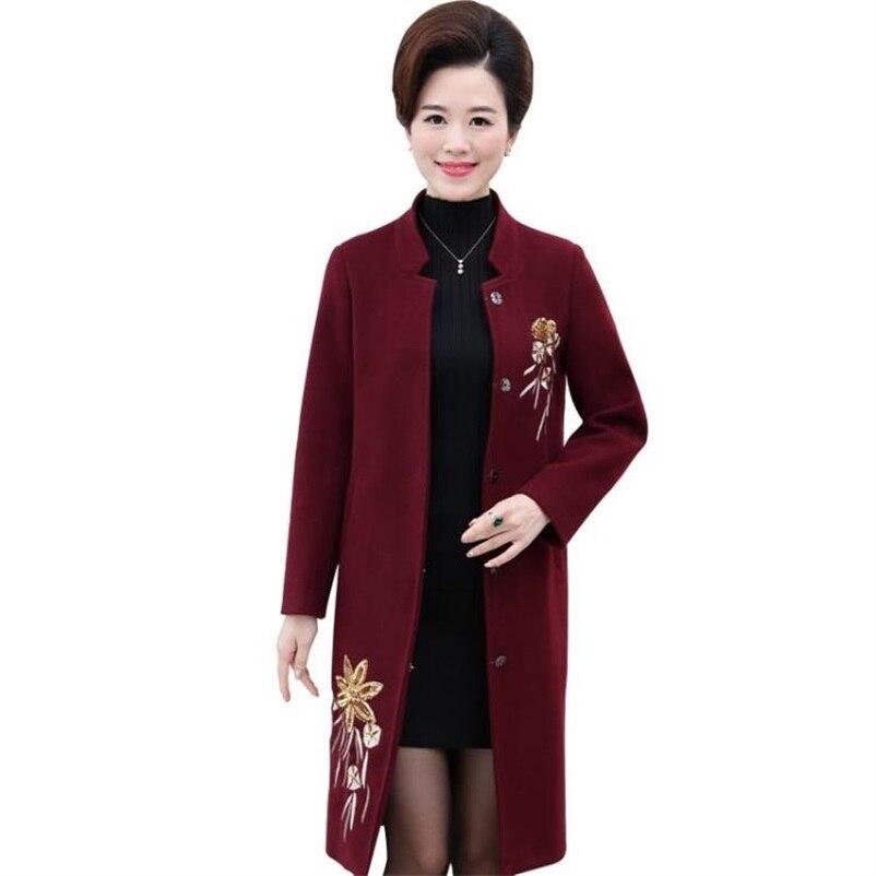Automne Section Haute Des Broderie Mode D'hiver 2018 Longue Et Laine Dans La bourgogne Moyen kaki D'âge De Manteau Vert Taille Femmes rouge OPXZuwikT