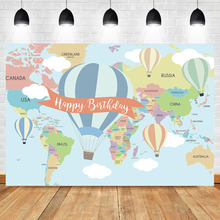 NeoBack Hot Air Balloon Birthday Backdrop World Map Party Banner Photography Background
