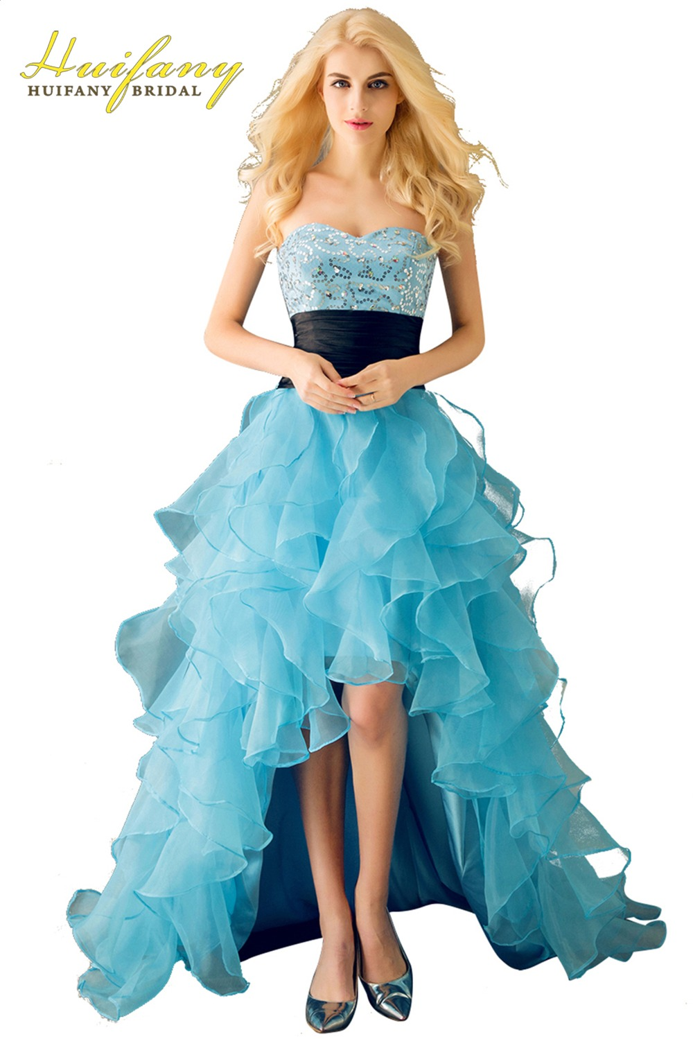 7ebee7241b High Low Prom Dresses Organza Ruffles Skirt Sweetheart Sequined Front Short  Back Long Blue Party Dress for Graduation Plus Size