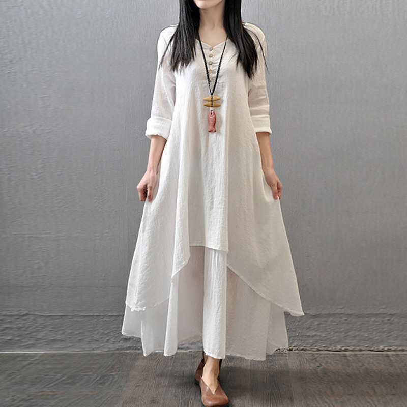 2018 Plus Size Summer Spring Linen Elegant Dress For Women Summered Full Long Sleeve Casual Party Dresses White Big Loose Dress