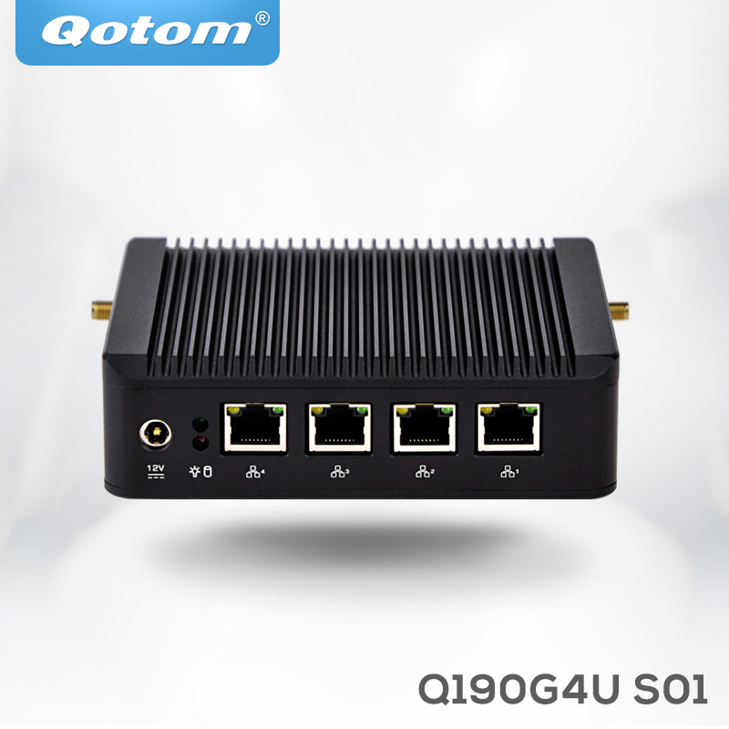 Mini pc X86 4 Lan Gigabit Qotom Q190G4U S01 with celeron J1900 quad core 4 usb