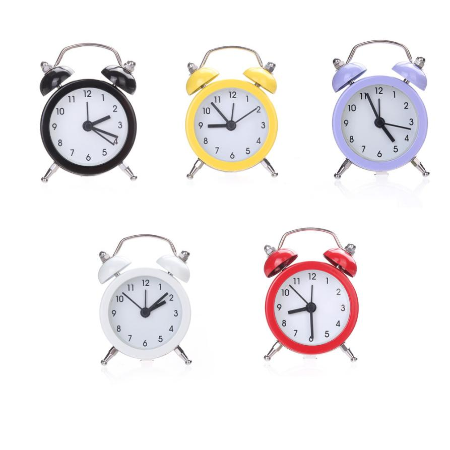 Household Students Mini Pure Color Alarm Clock Twin Bell Silent Alloy Stainless Metal Alarm Clock m17
