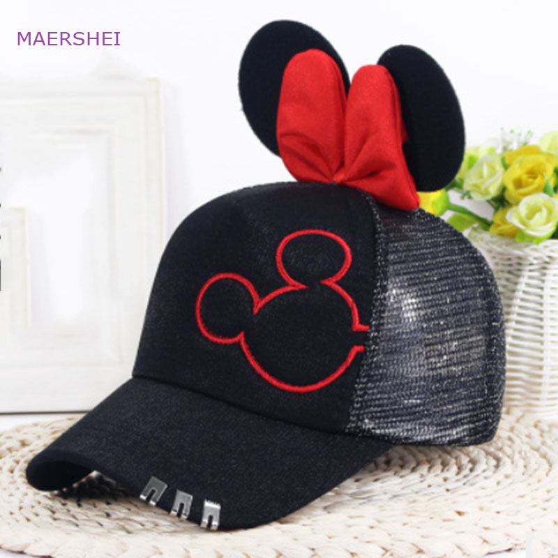 MAERSHEI Summer Mickey Sequin   Baseball     Cap   Child   Cap   Child Breathable mesh   cap   Cartoon Visor