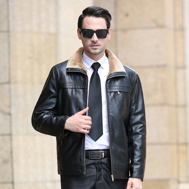Mens Leather Jacket Casual Brand Design Motorcycle Jaquetas De Couro Winter Thick Leather Cashmere Coat M-4XL