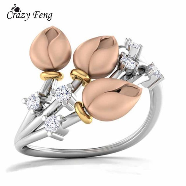 Crazy Feng Romantic Rings For Women Jewelry Flower Buds Branch Wedding Engagemen