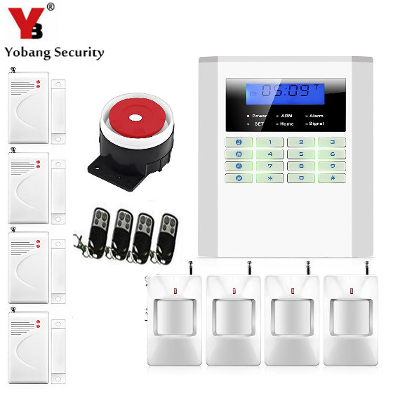 YobangSecurity 2 Wired 99 Wireless Zones Voice Prompt 433MHz GSM PSTN Dual Network Home Security Alarm Systems with LCD Keyboar yobangsecurity home gsm pstn alarm system 433mhz voice prompt lcd keyboard wireless alarma gsm with outdoor siren flash