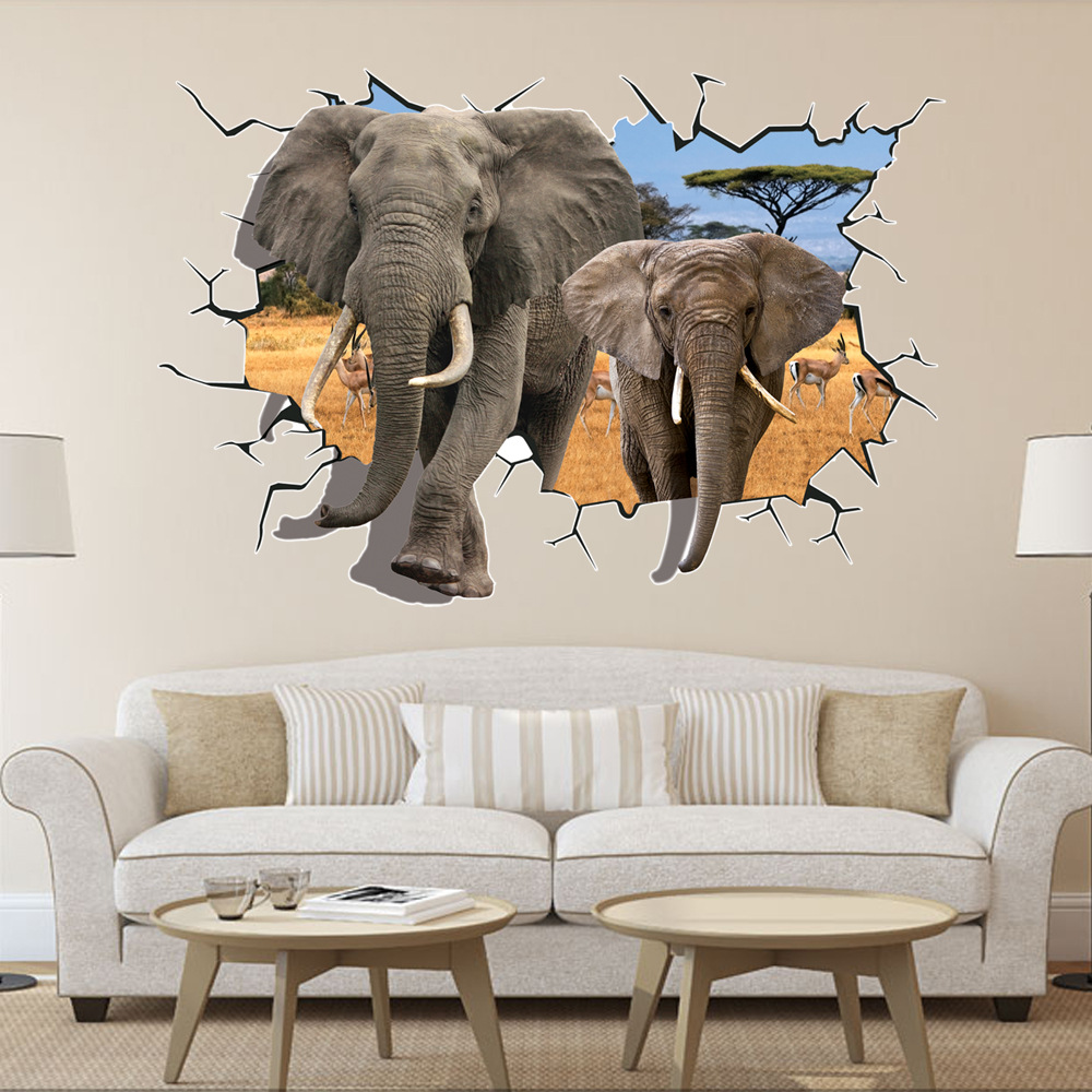 3d Broken Wall Decor Elephant Wall Stickers For Kids Rooms Home