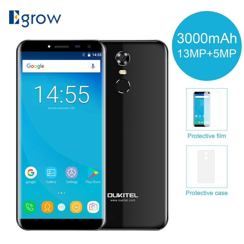 Original Oukitel C8 5,5 pulgadas 18:9 de pantalla Smartphone Android 7,0 3000 mAh 2 GB RAM 16 GB MT6580 Quad Core huella digital 13MP teléfono móvil