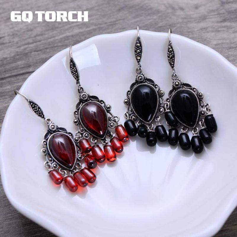 GQTORCH Real Pure 925 Sterling Silver Retro Natural Stone Onyx And Garnet Vintage Drop Tassels Earrings For Women Indian Jewelry
