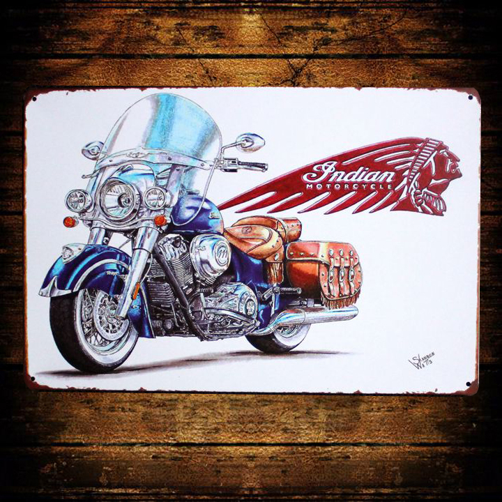 [ Kelly66 ] Indian Motorcycle Retro Metal Tin Sign Bar Room Iron Painting Craft 20*30 CM Size AA-156