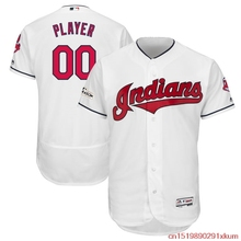 f78fc77b MLB MLB Men's Cleveland Indians Baseball White Postseason Flex Base Custom  Jersey