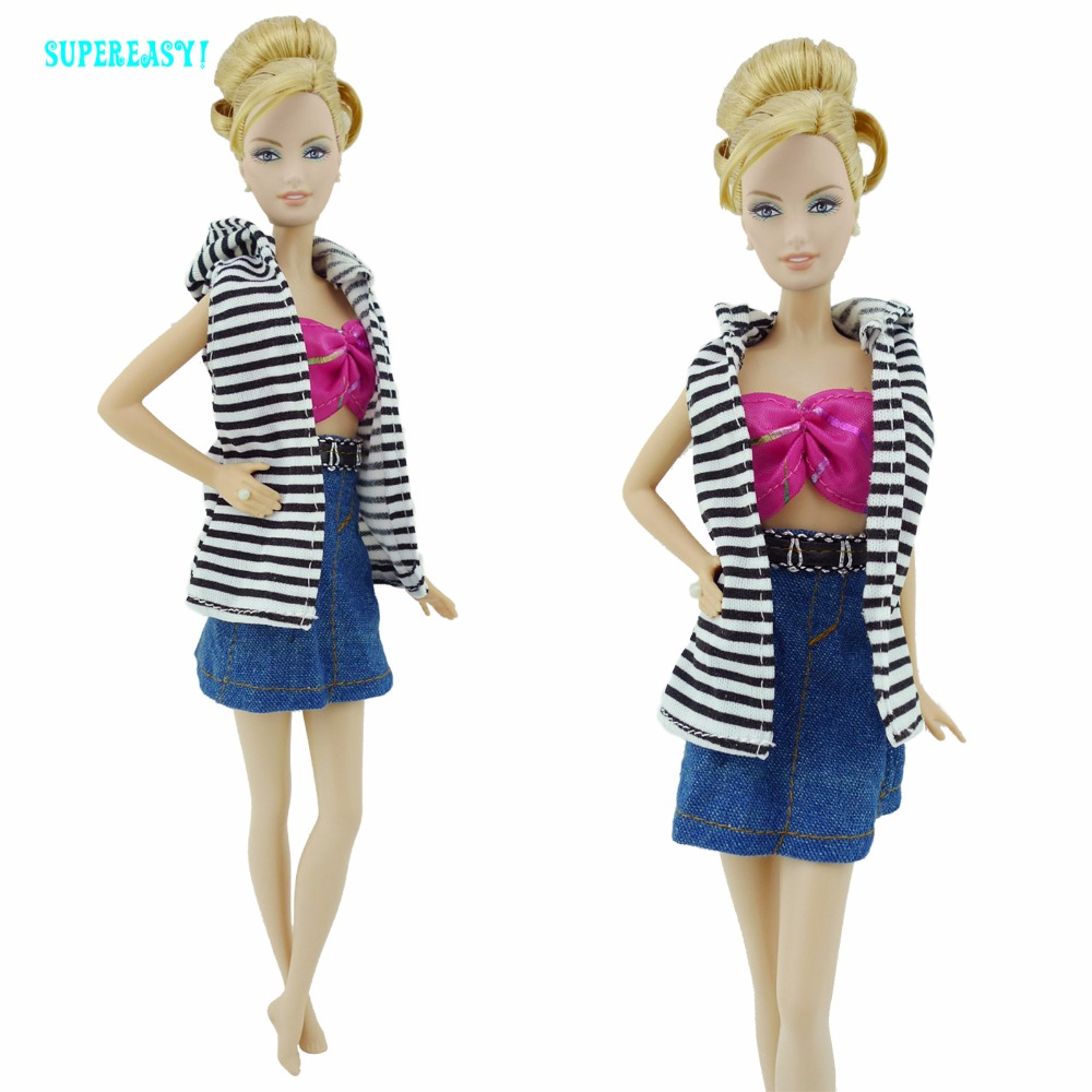 Handmade Style three In 1 Outfit Stripe Sample Waistcoat Bra Tops Skirt Garments For Barbie FR Kurhn Doll Equipment Child Toy Present