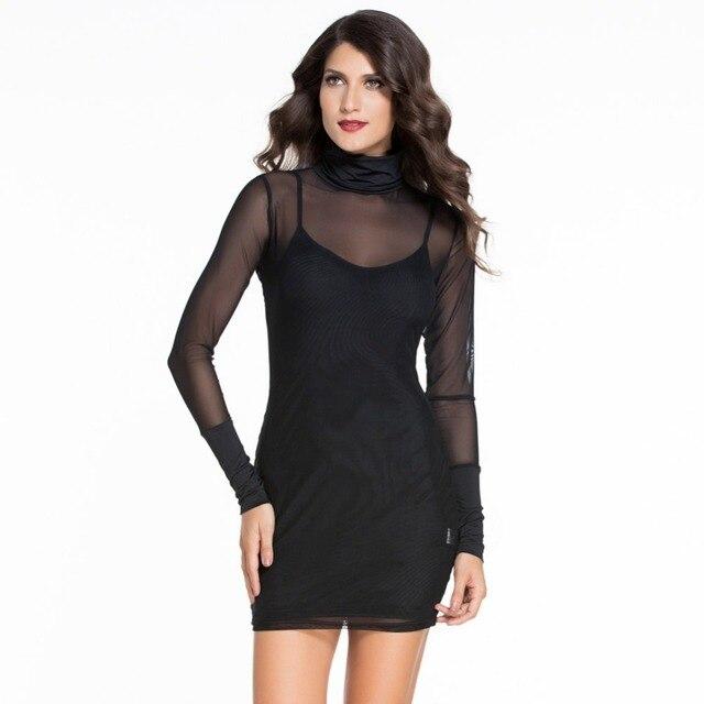 5094eea802ba LC2256B Wholesale and retail black bodycon dress long sleeve mesh see  through sexy club wear 2 pieces summer mini women dress