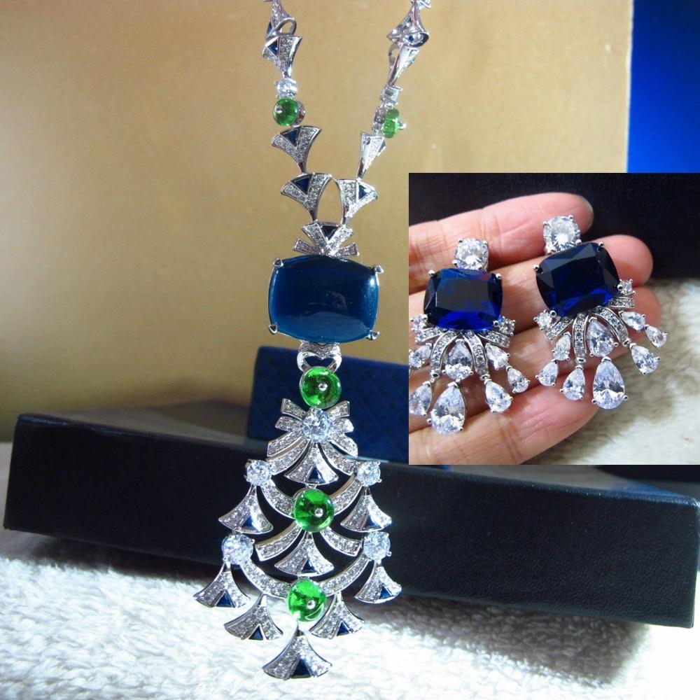 Takı ve Aksesuarları'ten Takı Setleri'de Yeni klasik kübik zirkon CZdiamonds taş Fan çiçek kolye kolye ve küpe 925 gümüş takı kadınlar için setleri'da  Grup 1