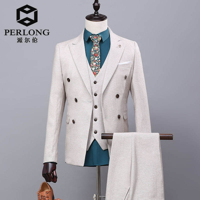 Mens Double Breasted Lvory White Suit 2016 England Style Custom Slim Fit Wedding Suits