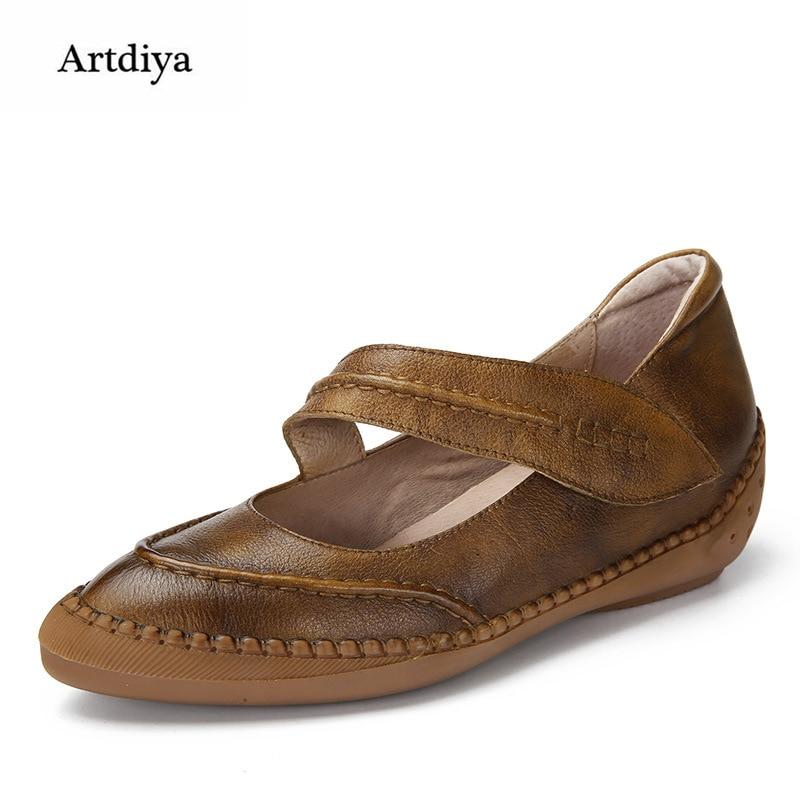 Фотография Artdiya 2018 New Spring Handmade Women Shoes Genuine Leather Shallow Breathable Soft  Cingulate Retro Flat Shoes 1832-1
